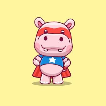 Desenhos animados de super-heróis e hipopótamos