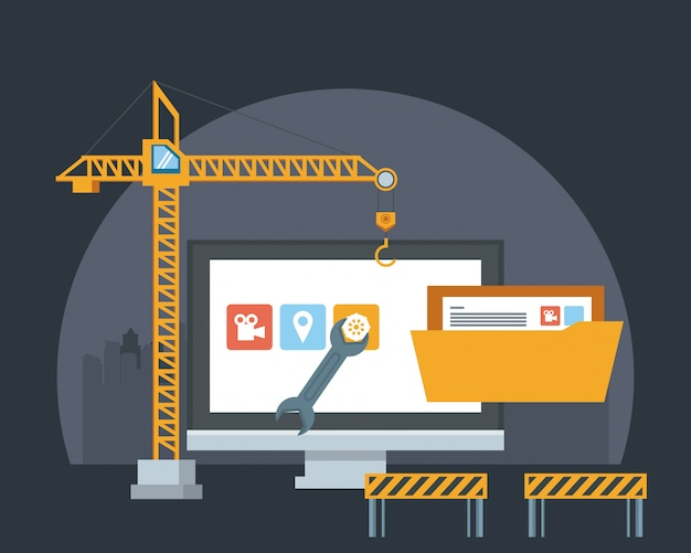 Desenhos animados de suporte de manutenção de dispositivo de tecnologia