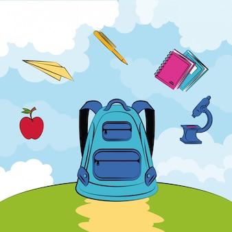 Desenhos animados de suprimentos de escola