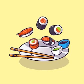 Desenhos animados de sushi com pauzinho e shoyu na placa