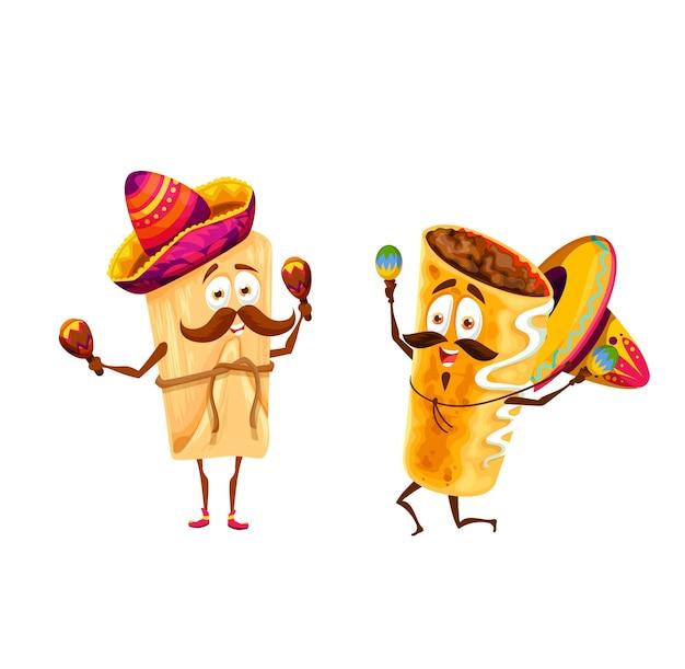 Desenhos animados de tamales mexicanos e personagens chimichanga