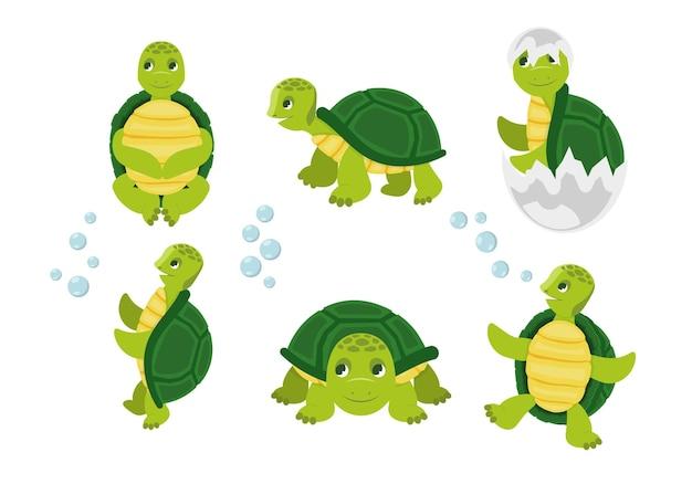 Desenhos animados de tartarugas, animais engraçados e felizes em várias poses de ação