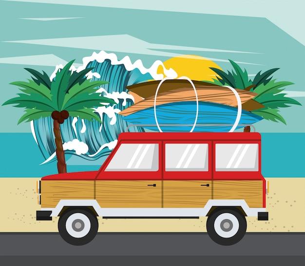 Desenhos animados de tempo de surf