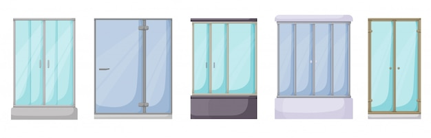 Desenhos animados de tenda de chuveiro definir ícone. banheiro de ilustração em fundo branco. desenhos animados definir ícone chuveiro.
