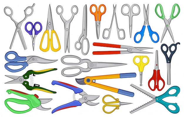 Desenhos animados de tesoura definir ícone. ilustração equipamento de tesoura no fundo branco. desenho animado conjunto tesoura ícone.