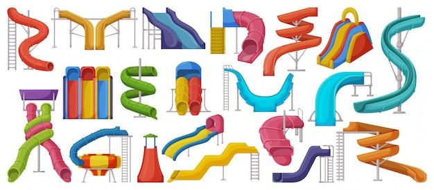 Desenhos animados de toboágua definir ícone. desenhos animados isolados definir ícone parque aquático. corrediça de água da ilustração no fundo branco.