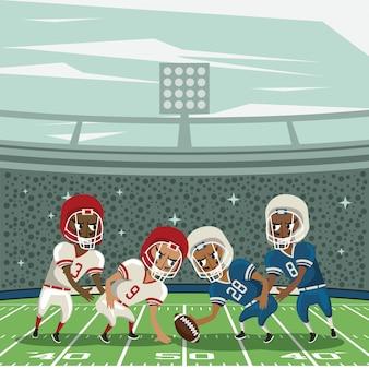 Desenhos animados de torneio de campeonato de esporte de futebol