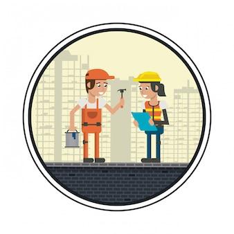 Desenhos animados de trabalhadores geométricos