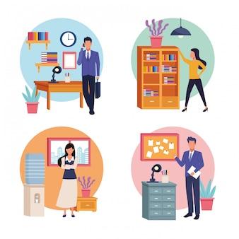 Desenhos animados de trabalho executivo profissional de negócios