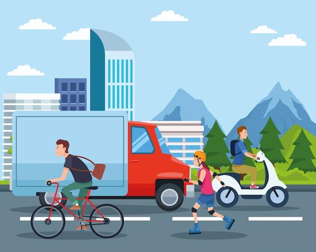 Desenhos animados de transporte e mobilidade da cidade