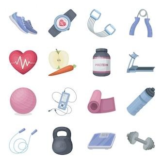 Desenhos animados de treino de ginásio definir ícone. esporte fitness. desenhos animados isolados definir ícone ginásio treino.