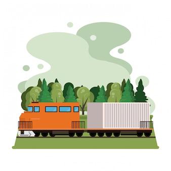 Desenhos animados de trem de carga logística de mercadoria de transporte
