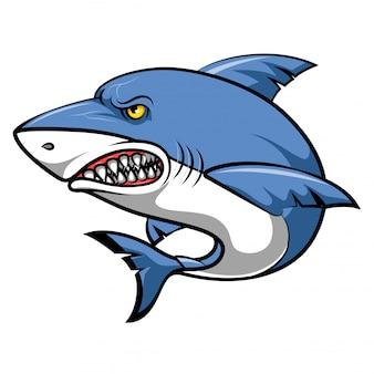 Desenhos animados de tubarão irritado