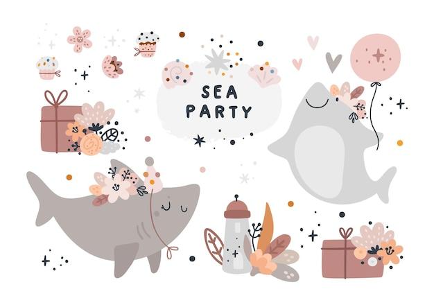 Desenhos animados de tubarões bebês com flores, caixa de presente, balões