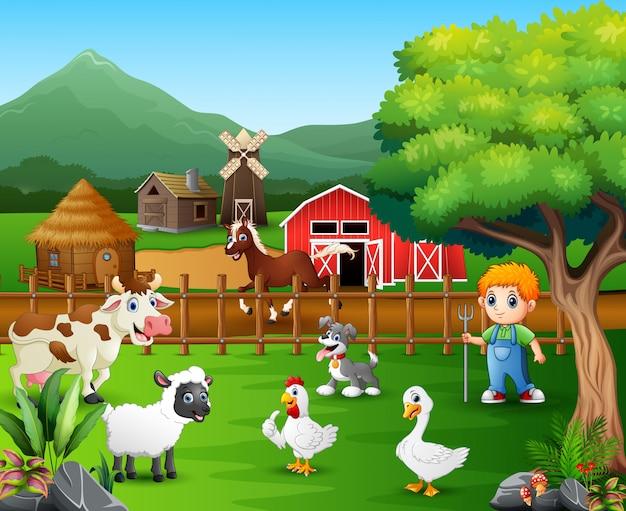 Desenhos animados de um agricultor em sua fazenda com um monte de animais de fazenda