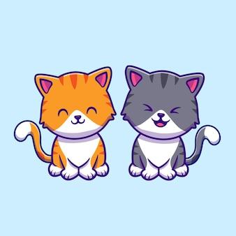 Desenhos animados de um casal de gatos fofos