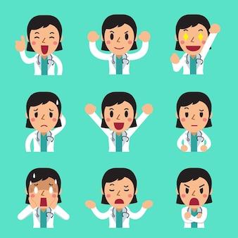 Desenhos animados de uma médica mostrando emoções diferentes