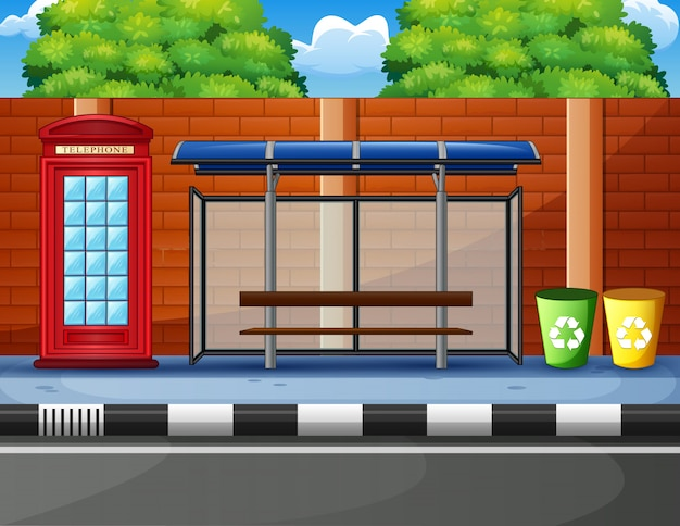 Desenhos animados de uma parada de ônibus
