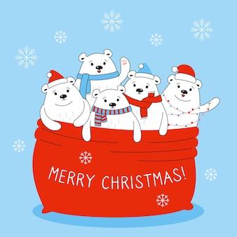 Desenhos animados de ursos polares em bolsa vermelha papai noel