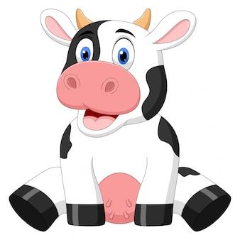 Desenhos animados de vaca bebê fofo de ilustração sentado no fundo branco