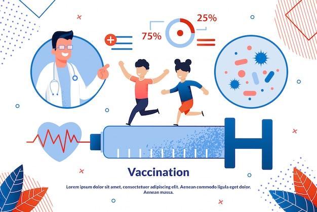 Desenhos animados de vacinação de inscrição bandeira brilhante.
