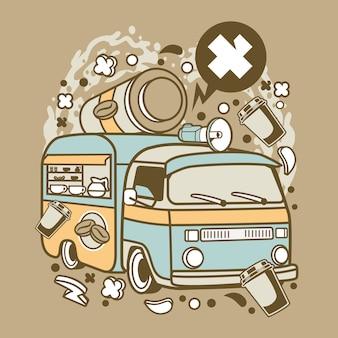 Desenhos animados de Van de café