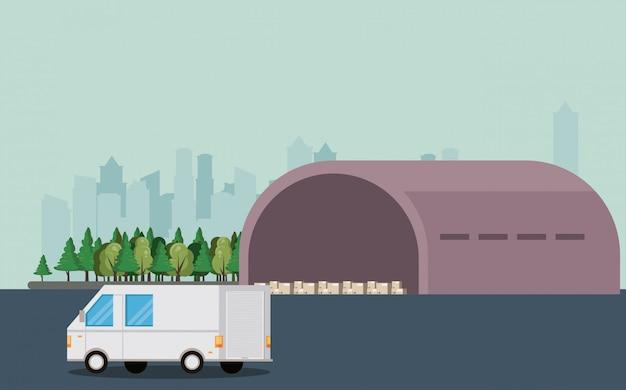 Desenhos animados de van de entrega de veículo de transporte