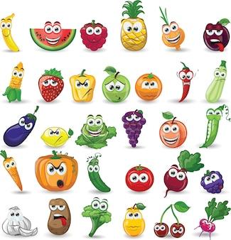 Desenhos animados de vegetais e frutas com expressões de caras engraçadas