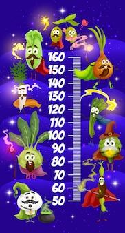 Desenhos animados de vegetais mágicos, gráfico de altura de crianças