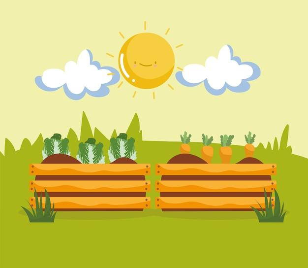 Desenhos animados de vegetais na cesta