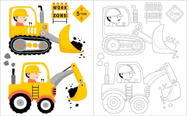 Desenhos animados de veículo constrcution com motorista