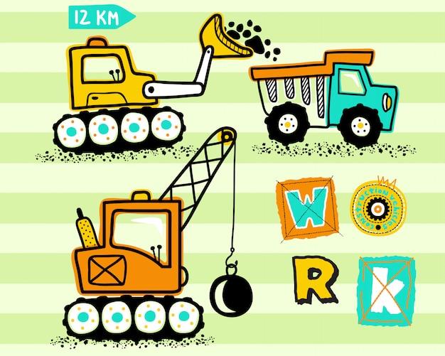 Desenhos animados de veículos de construção