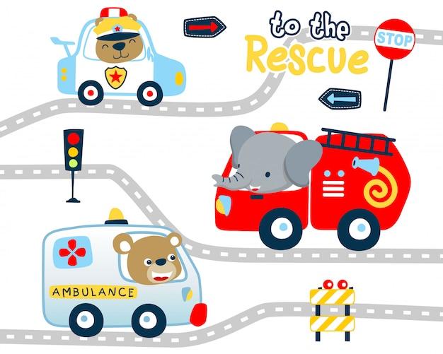 Desenhos animados de veículos de resgate com motorista engraçado