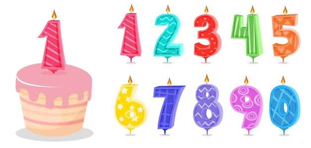 Desenhos animados de velas de aniversário e velas de números de aniversário