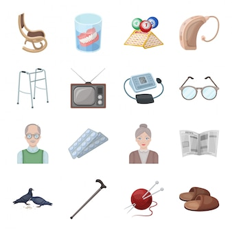 Desenhos animados de velhice definir ícone. desenhos animados isolados definir ícone de cuidados. velhice.