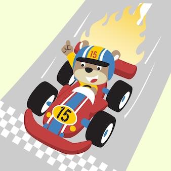 Desenhos animados de vetor de corrida de carro