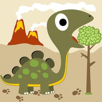 Desenhos animados de vetor de dinossauros