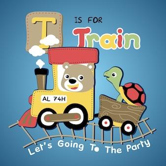 Desenhos animados de vetores de animais felizes no trem