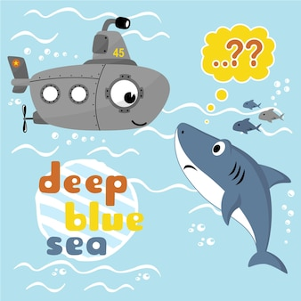 Desenhos animados de vetores de submarino e tubarão sob o mar azul