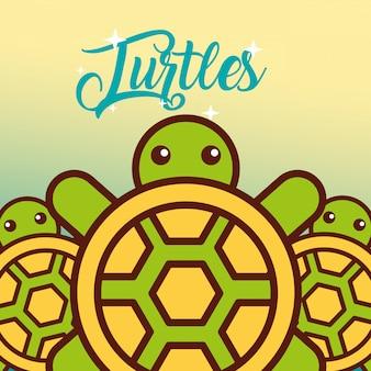 Desenhos animados de vida marinha de tartarugas