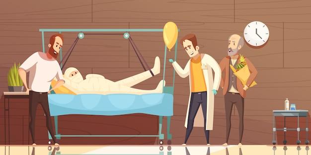 Desenhos animados de visitantes de pacientes de hospital