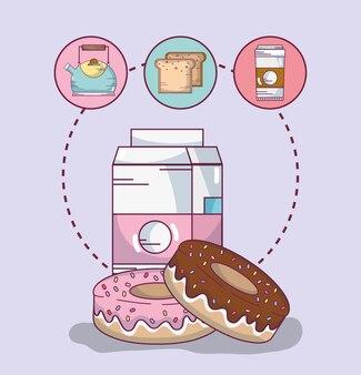 Desenhos animados deliciosos do pequeno almoço