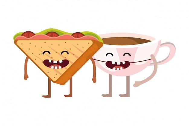 Desenhos animados deliciosos saborosos sanduãche