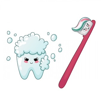 Desenhos animados dente kawaii e escova de dentes caráter bonito atendimento odontológico