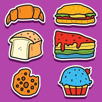 Desenhos animados desenhados à mão adesivos de pão sortido