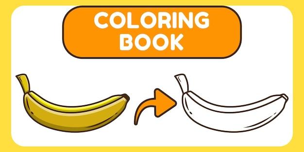Desenhos animados desenhados à mão de banana fofa para colorir livro para crianças