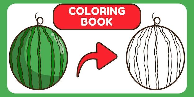 Desenhos animados desenhados à mão de melancia fofa para colorir livro para crianças