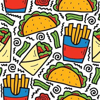 Desenhos animados desenhados à mão desenho padrão de alimentos
