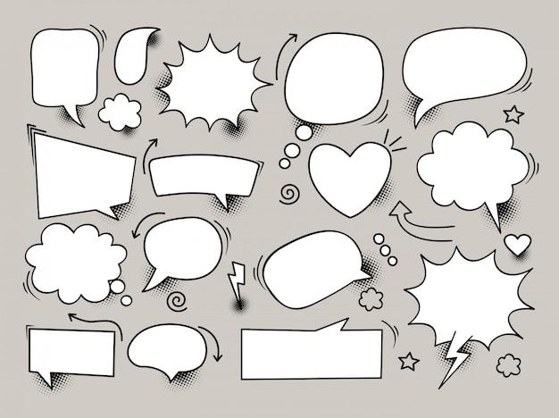 Desenhos animados desenhados à mão livre da bolha do discurso em quadrinhos em fundo preto