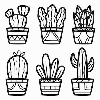 Desenhos animados desenhados à mão para colorir cactos